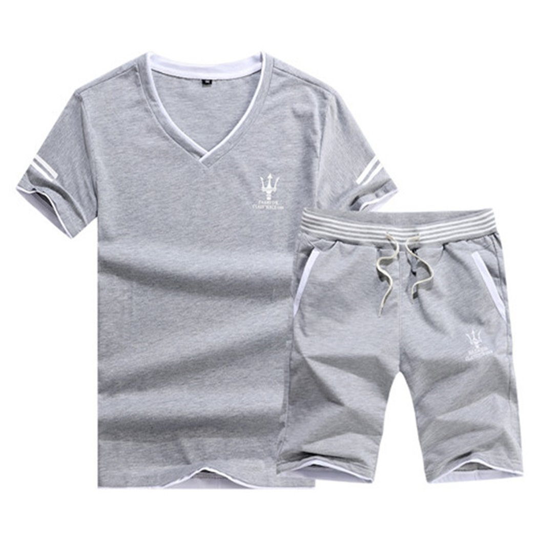 Real Spark Men's Casual Athletic Shirts & Shorts Set 2 Piece Active Tracksuit Outfit Grey XXS