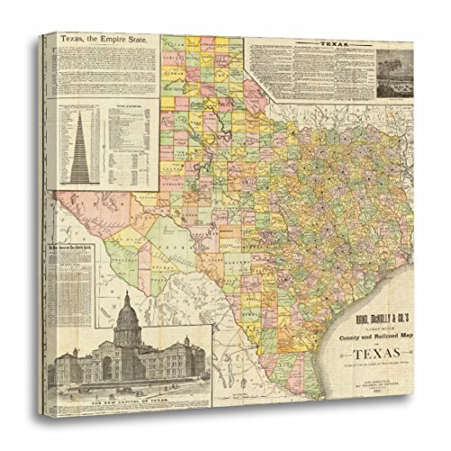 TORASS Canvas Wall Art Print Printed Large Scale County and Map of Texas Full Artwork for Home Decor 20