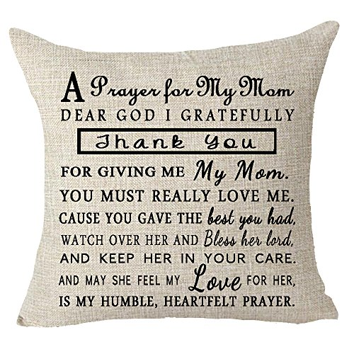 A prayer for my mom dear i gratefully thank you for giving me my mom happy mother's day Throw Pillow Cover Cushion Case Cotton Linen Material Decorative 18x18 inches - Mothers Day Pillow