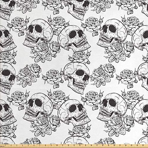 Lunarable Skull Fabric by The Yard, Blooms Retro Style Otherworld Textured Western Style Celtic Halloween Horror, Decorative Fabric for Upholstery and Home Accents, 1 Yard, Charcoal Grey White
