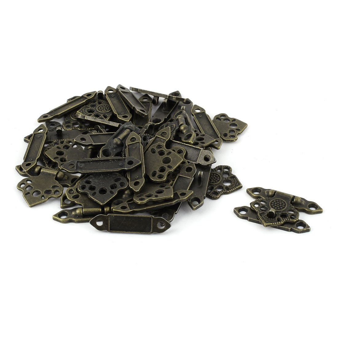 uxcell Jewelry Hollow Leaf Shape Antique Zinc Alloy Box Latch Hasp Bronze Tone 20 PCS by uxcell