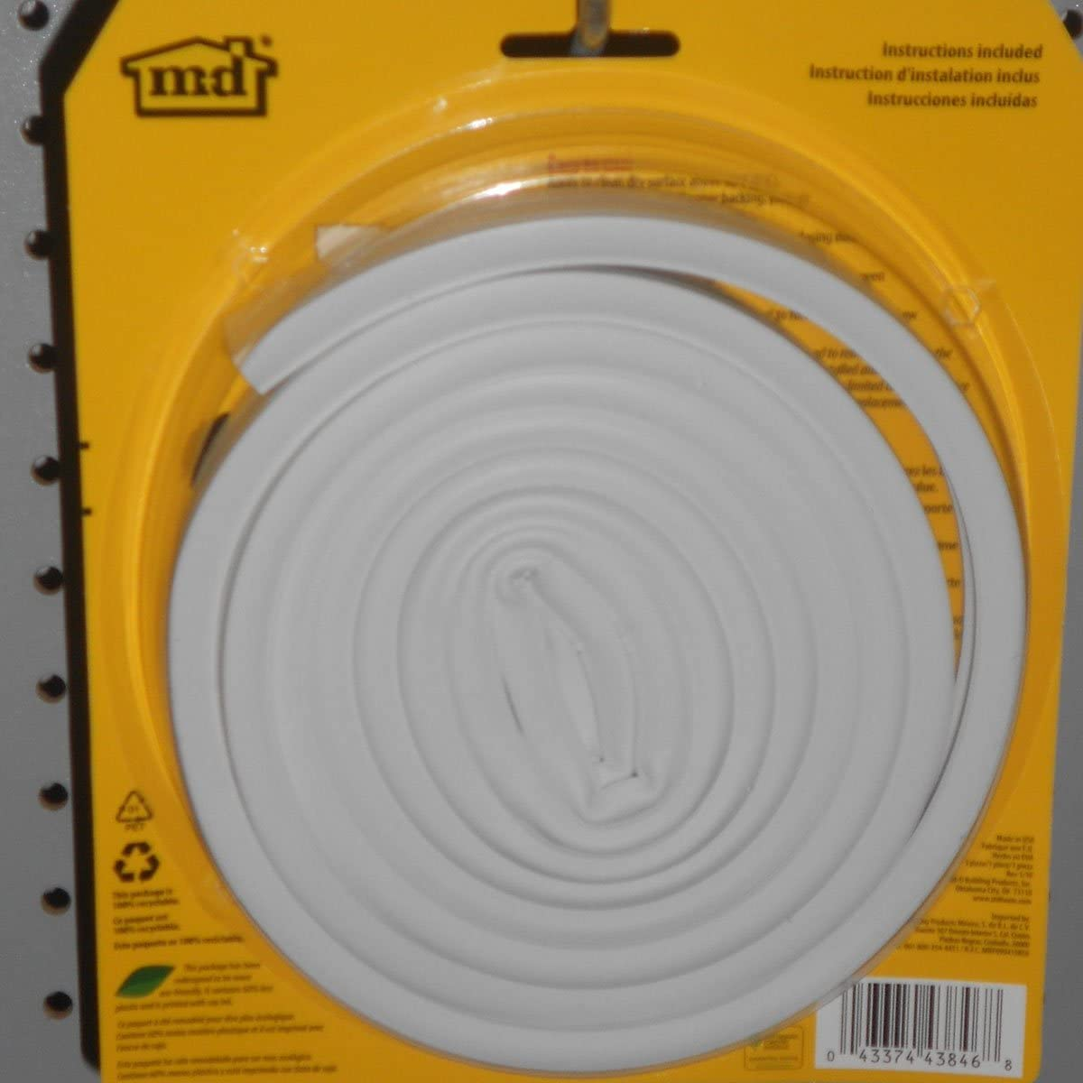 M-D Building Products 43846 Thermal Blend All Climate Wave Profile Weather-Strip White W X 17 Ft L X 3//8 in T