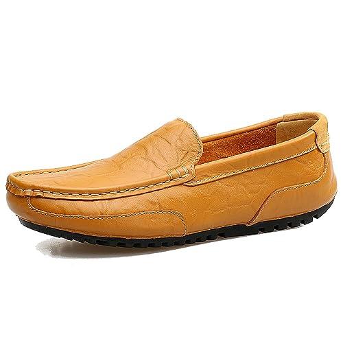 LANSEYAOJI Mocasines Hombre Moda Zapatos de Cuero Zapatos de Conducción Casual Slip On Loafers Zapatos de Negocios Ligeros Zapatos para Caminar Cómodos ...