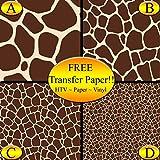 Giraffe Pattern Printed Heat Transfer Vinyl (Style C - 12 x 24)