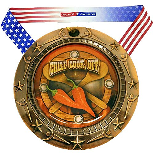 Decade Awards Chili Cook-Off Medal World Class Medal, Bronze - 3 Inch Wide Chili Competition Medallion with Stars and Stripes American Flag V Neck Ribbon