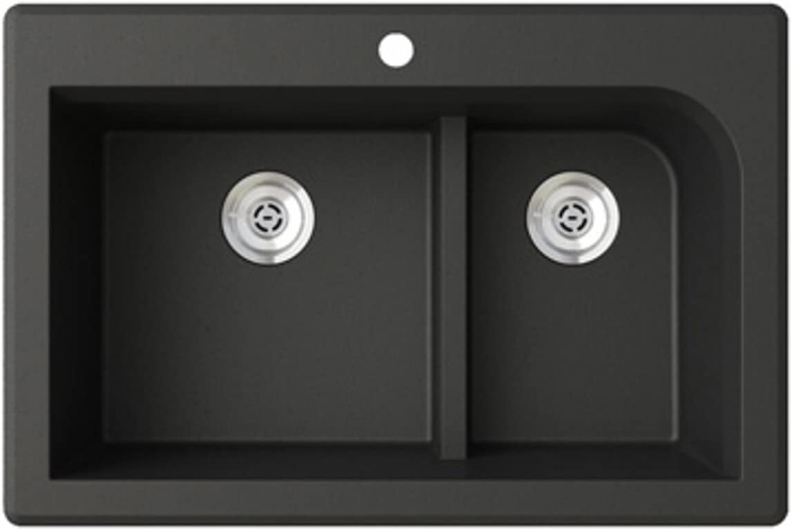 Swanstone QZ03322LD.077 Granite 1-Hole Drop in Double-Bowl Kitchen Sink, 33-in L X 22-in H X 9-in H, Nero