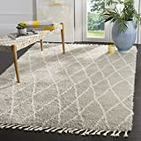 Safavieh Casablanca Shag Collection CSB145D Grey and Ivory Tassel Area Rug (5′ x 8′) Review