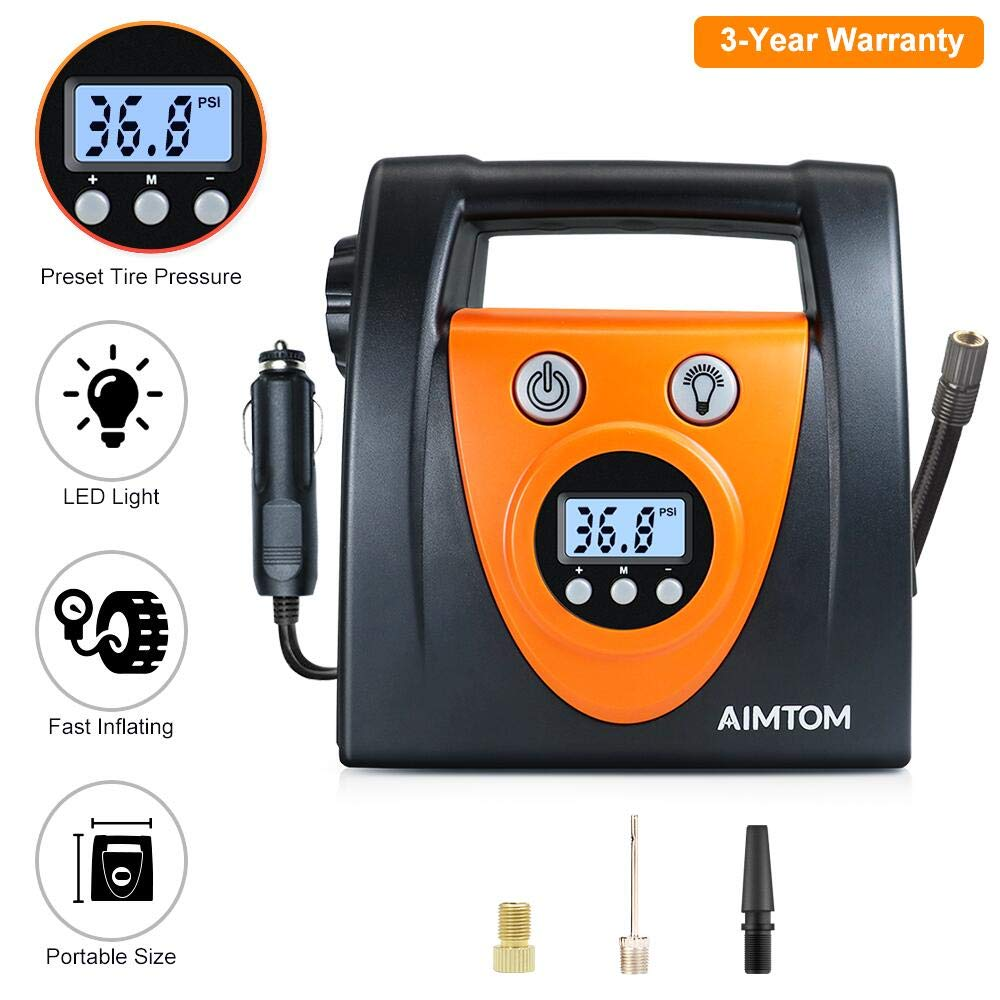 AIMTOM Portable Air Compressor Pump, Auto Digital Tire Inflator, 12V 100 PSI Tire Pump for Car, Truck, Motorcycle, SUV, RV and Other Inflatables AMN-DAC-01