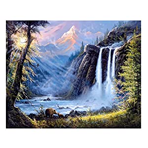 Diamond Painting 5D Waterfall Round Partial Embroidery Rhinestone Scenery Animal Bear Pattern Wall Religions wall decor