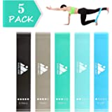 Resistance Loop Exercise Bands Set of 5 for Women Men Legs Butt Arms Shoulders Home Fitness, Stretching, Strength Training, Yoga Rehab Physical Therapy, Pilates Flexbands with Carrying Bag