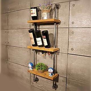 ZFF Wine rack Cremagliera del Vino, attaccapanni d'attaccatura di Vino d'attaccatura invertito del Vino di attaccatura della Parete di Parete di Legno del Ferro battuto Industriale