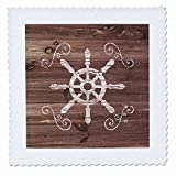 3dRose Russ Billington Nautical Designs - Ships Wheel with scrolls in White on Brown Weatherboard- Not Real Wood - 20x20 inch quilt square (qs_261837_8)