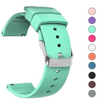 JIELIELE Repuesto de Correa Reloj de Silicona para Hombre y Mujer, Caucho Fácil de Abrochar para 20mm Relojes y Smartwatch (20mm, Cyan)