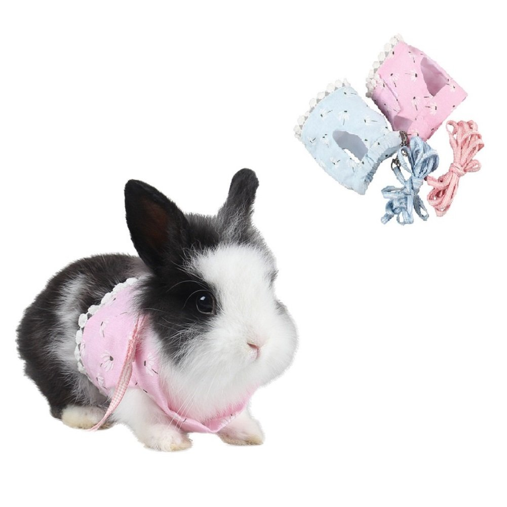 Stock Show Small Animals Outdoor Walking Vest Harness with Lead Leash Set Rabbit Hedgehog Ferret Guinea Pigs Piggies Squirrel Kitten Puppy Comfort Cotton Clothes Harness Accessory, Pink
