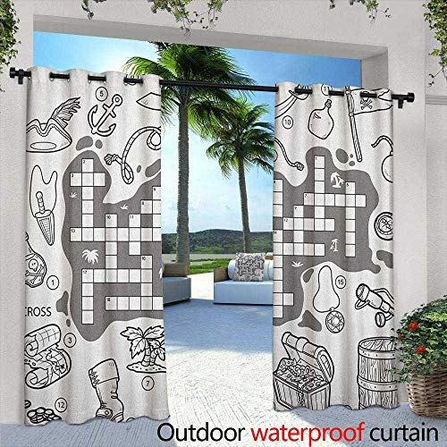 Word Search Puzzle Outdoor Grommet Window Curtain Colorless Pirates Themed Educational Puzzle Treasure Map and Icons Insulated with Grommet Curtains for Bedroom 84