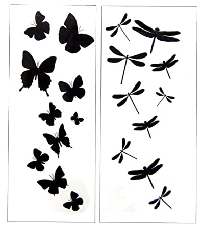 amazon com premium dragonfly butterfly black silhouette tattoo