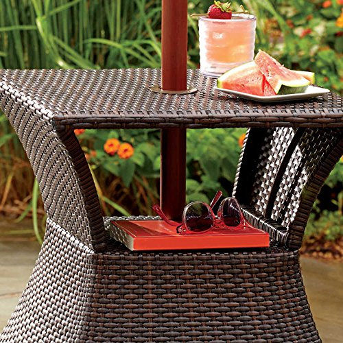 Stratford Umbrella Stand Side Table With Shelf Wicker And