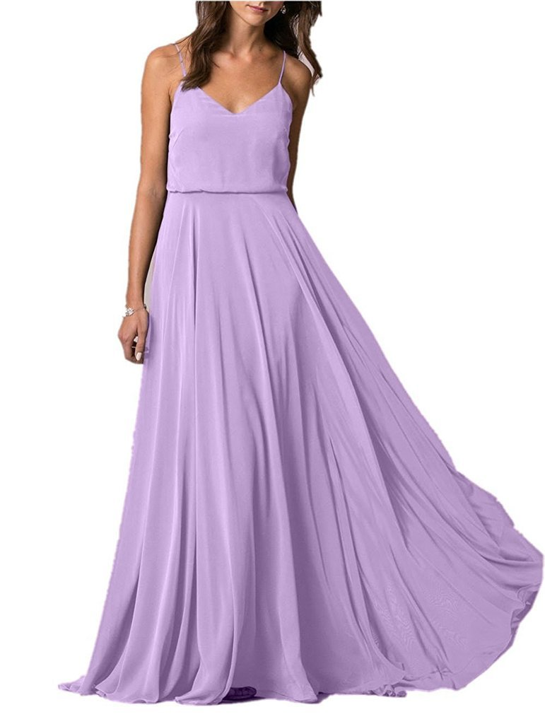 87c7a78ffd3a8 Lafee Bridal V-Neck Spaghetti Straps Long Chiffon Beach Wedding Bridesmaid  Dress Lavender Size 6