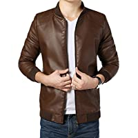 Gordania Men's Faux Leather Slim Fit Brown Design Jacket
