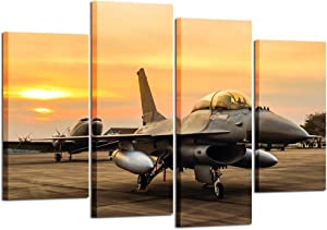 Kreative Arts - 4 Panel Canvas Prints F-16 Fighting Falcon Fighter Jet on Sunset Wall Art Military Airplane Giclee Canvas Pictures Stretched and Framed Paintings Artwork for Home Decor L47xH32