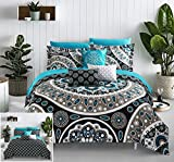 Chic Home Mornington 8 Piece Reversible Comforter Bag Large Scale Paisley Print Contemporary Geometric Pattern Bedding Sheet Set Decorative Pillows Shams Included, Twin, Black