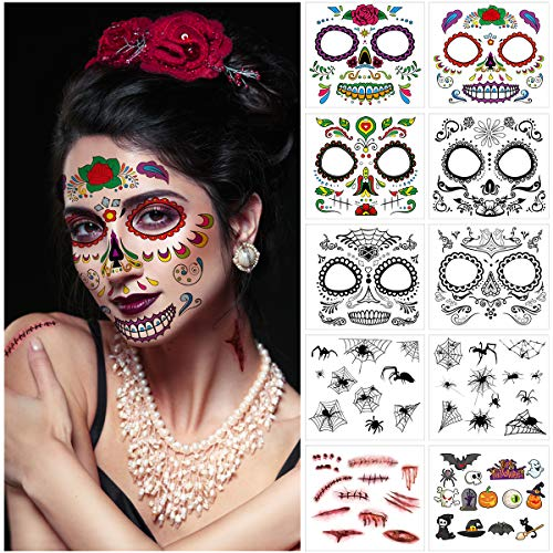 Halloween Makeup Skull - Frcolor Face Tattoo Kit 10 Sheets,Temporary