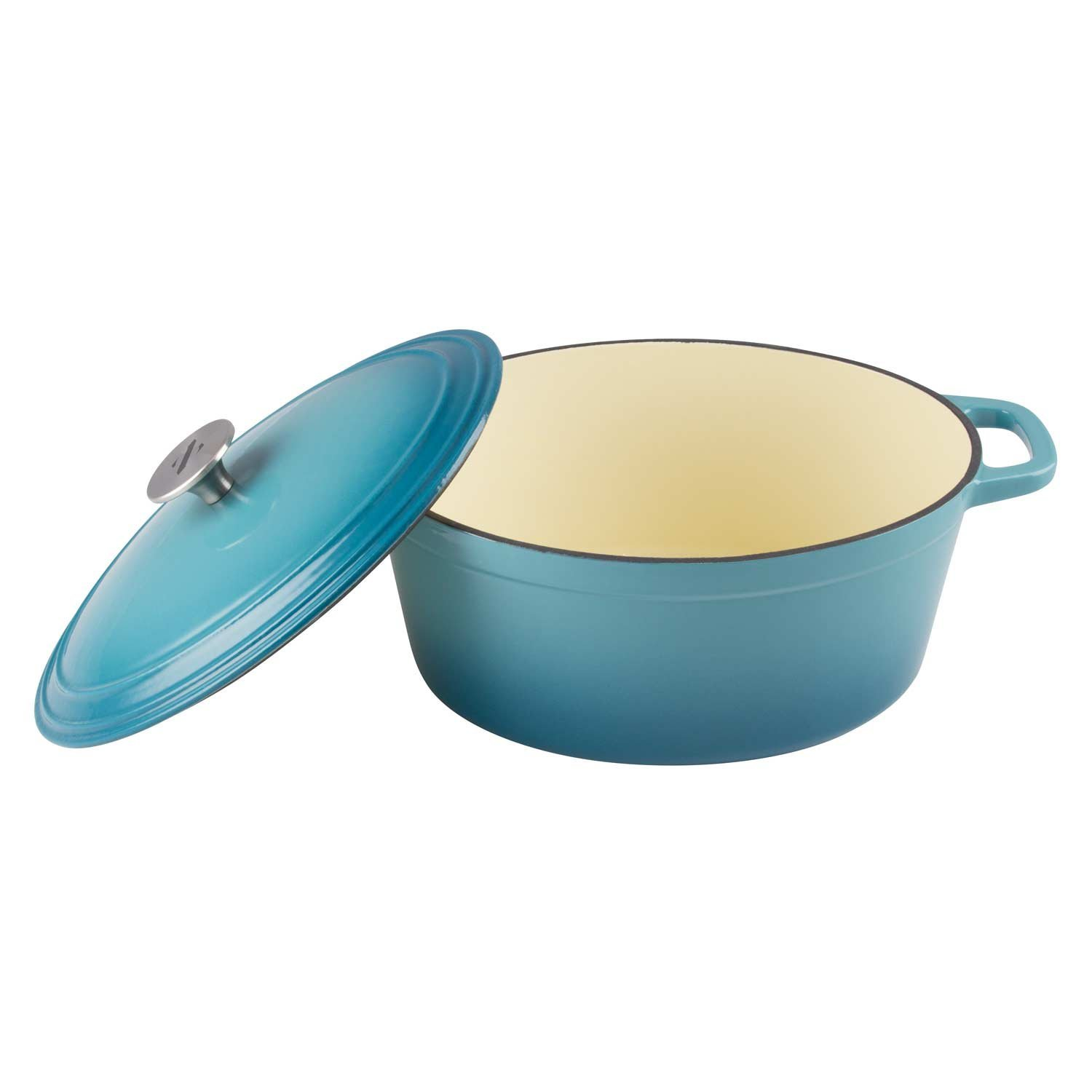 Zelancio Cookware 6-Quart Enameled Cast Iron Oval Dutch Oven Cooking Dish with Skillet Lid, Teal