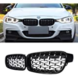 SNA Chrome Diamond F30 Grill, Front Kidney Grille for 2012-2018 BMW 3 Series F30 F31 (ABS Gloss Black Grills, 2-pc Set)
