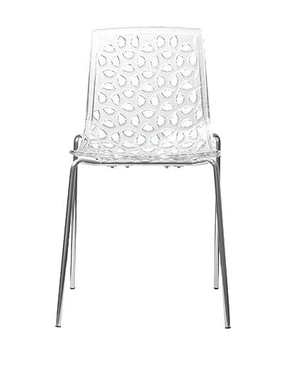 Charmant Aeon Dakota Translucent Polycarbonate Dining Chair, Clear, Set Of 2