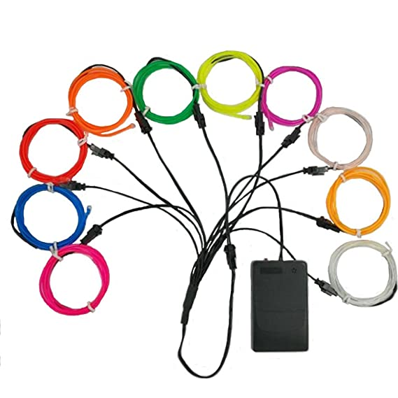Amazon Com Tghcp 10x3ft Neon Glowing El Wire With Battery Pack For
