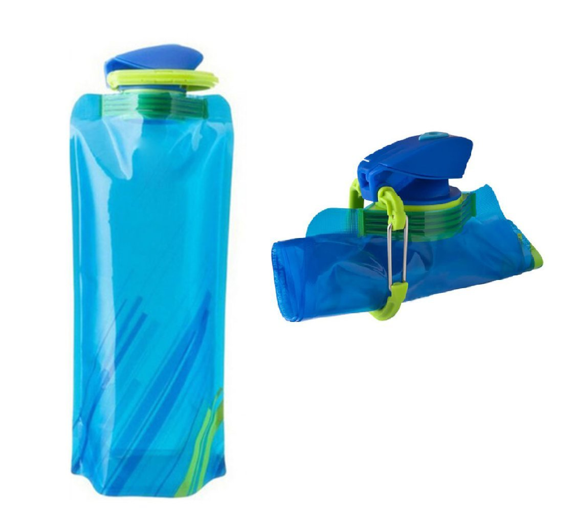 SET OF TWO 0.7 Liter COLLAPSIBLE WATER BOTTLES – Premium quality, lightweight, reusable, BPA free - Portable, flexible, fold-up, roll-up- 24 fl. oz - Perfect for air travel, camping, or hiking