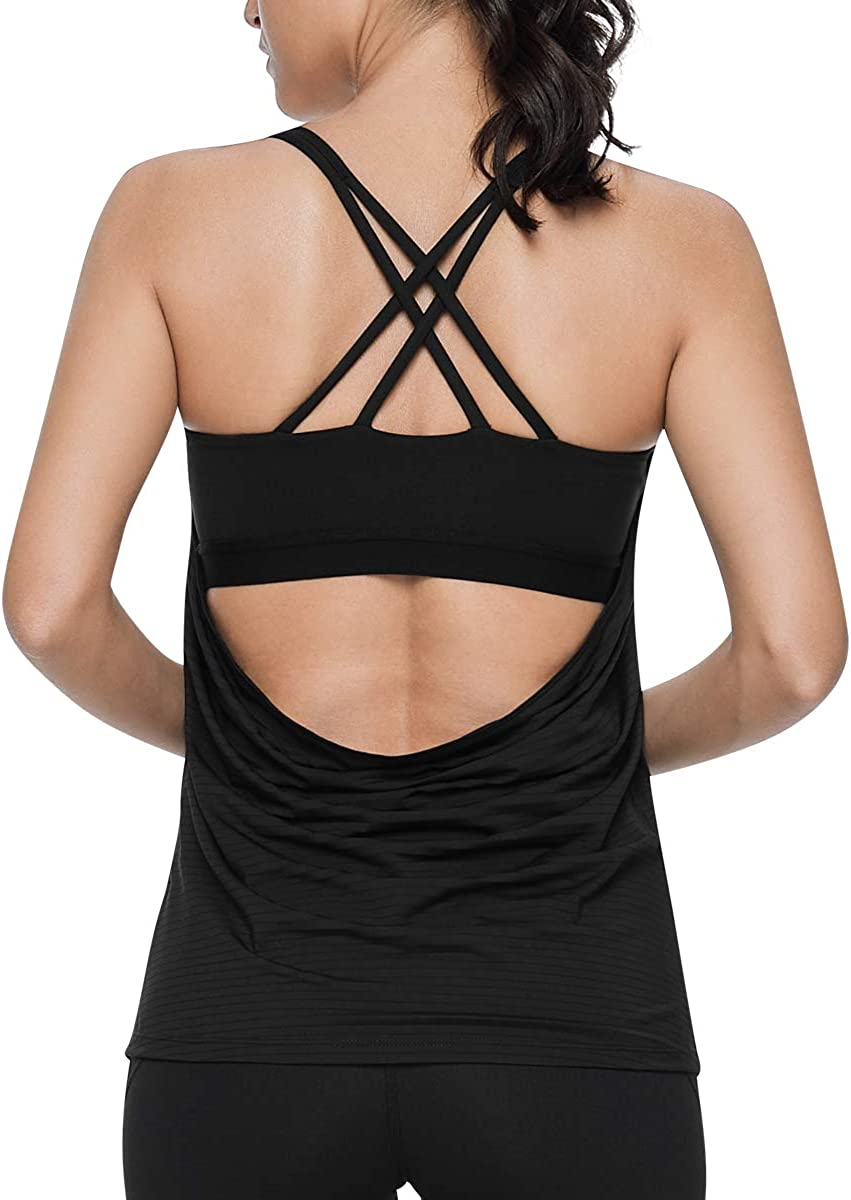 VUTRU Womens 2 in 1 Workout Tank Tops with Built in Bra Strappy Open Back Bra Top