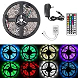 Linkstyle 16.4ft RGB LED Strip Lights, 150 Units SMD 5050 LEDs RGB LED Tape Flexible LED Strip Light Kit with Power Supply, 44Key Remote Controller & Color Changing for Bedroom TV Backlight Bar Party