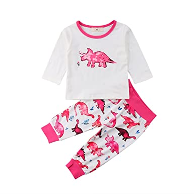 d7a64e9af040 Amazon.com  Infant Baby Girl Cute Pink Dinosaur Pajamas 2 Piece Set ...