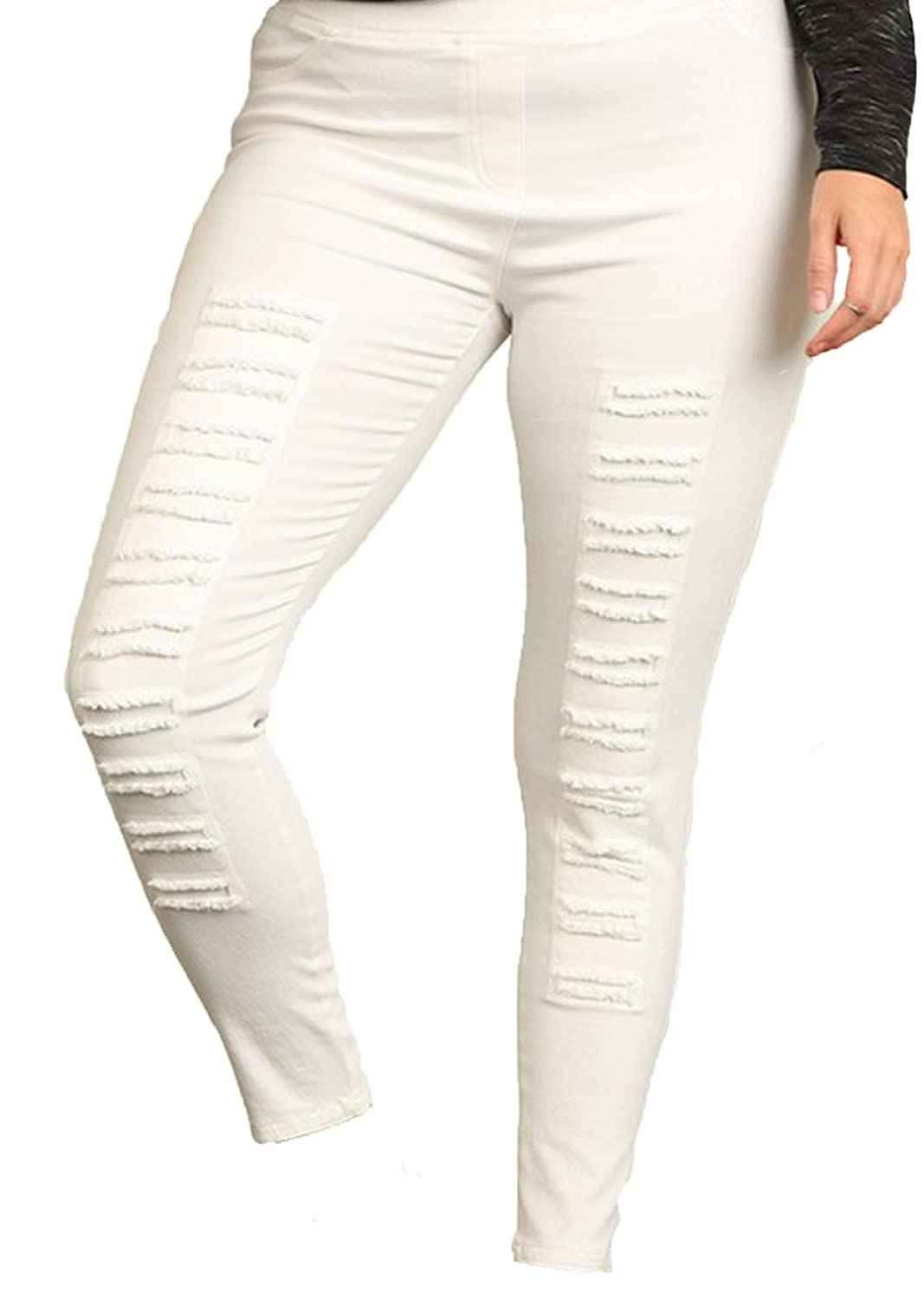 Women's Plus Size High Waisted Distressed Jegging