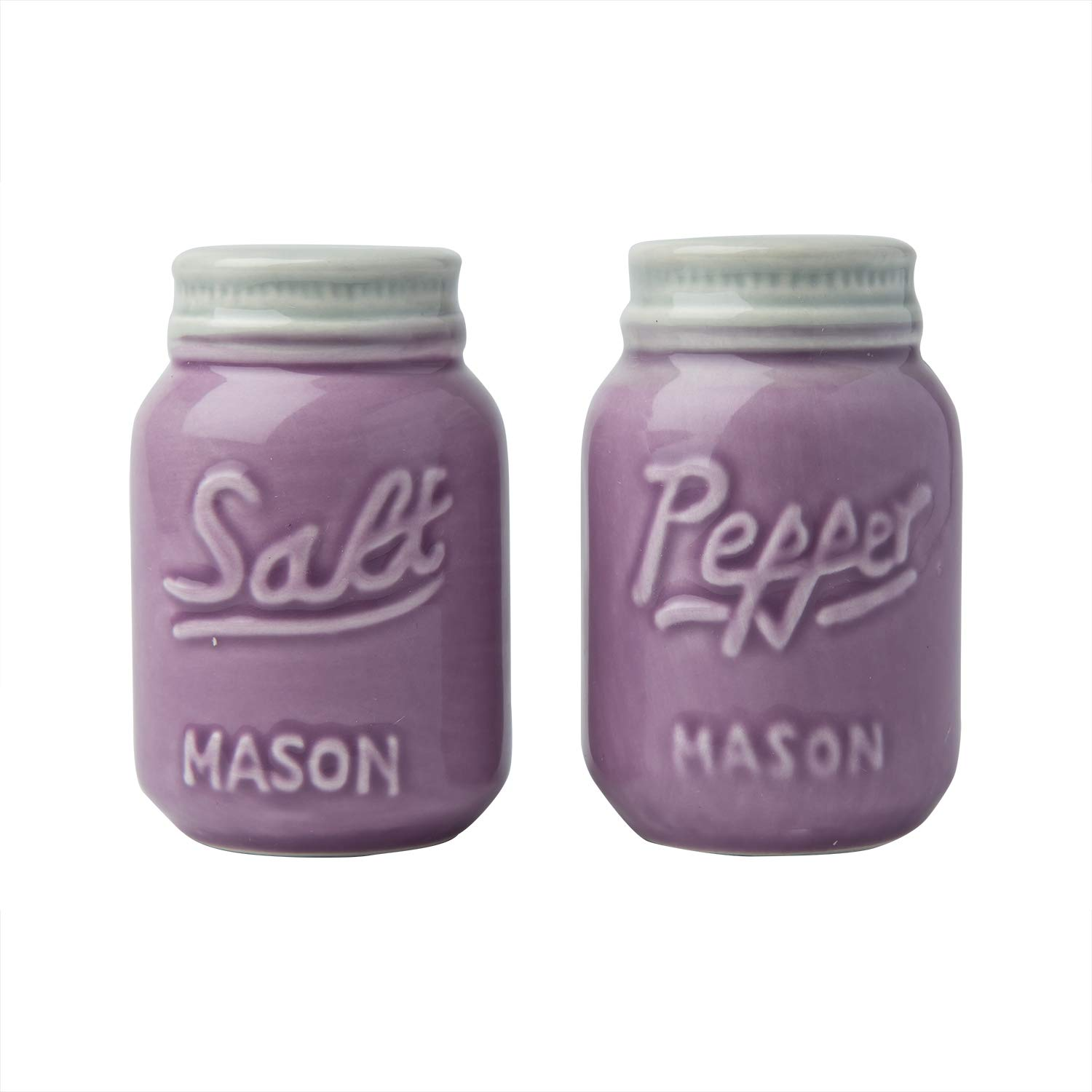 Comfify Vintage Mason Jar Salt & Pepper Shakers Adorable Decorative Mason Jar Decor for Vintage, Rustic, Shabby Chic - Sturdy Ceramic in Grey - 3.5 oz. Cap. CER-0501-03-GY