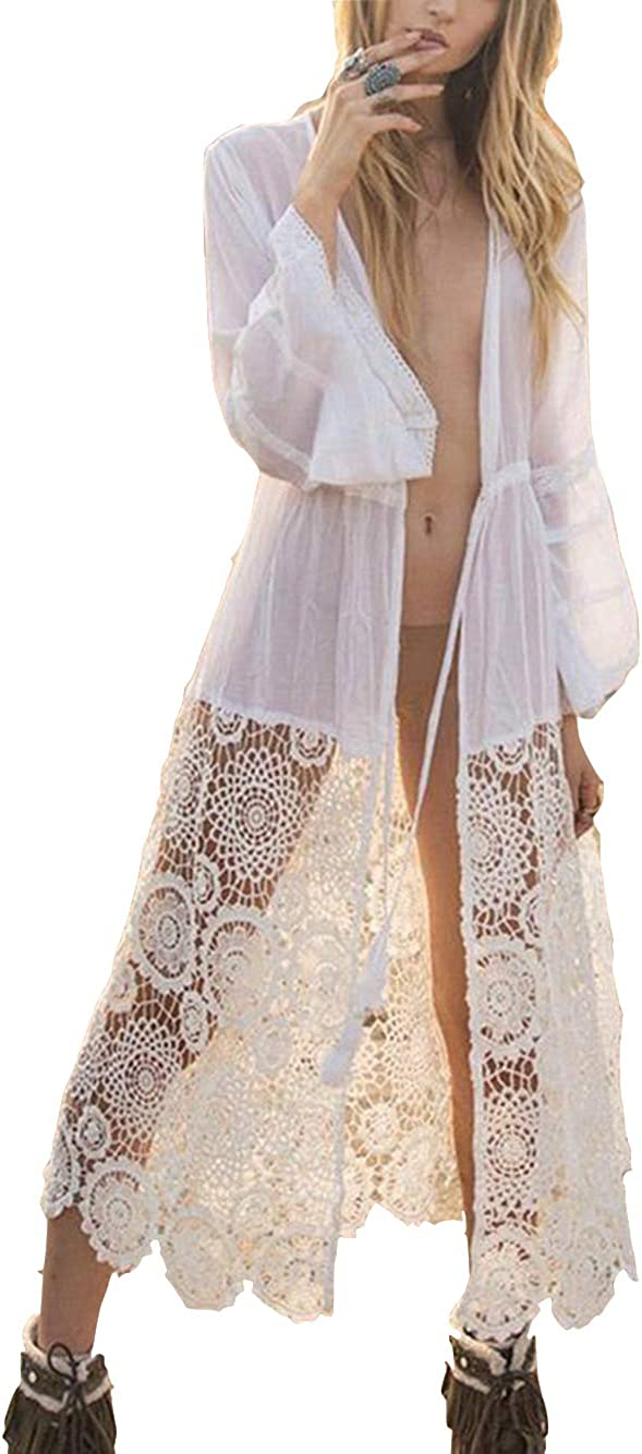 Women S Embroidered Lace Kimono White Sexy Swimsuit Cover Up Long Sleeve Lace Cardigan 915 At Amazon Women S Clothing Store