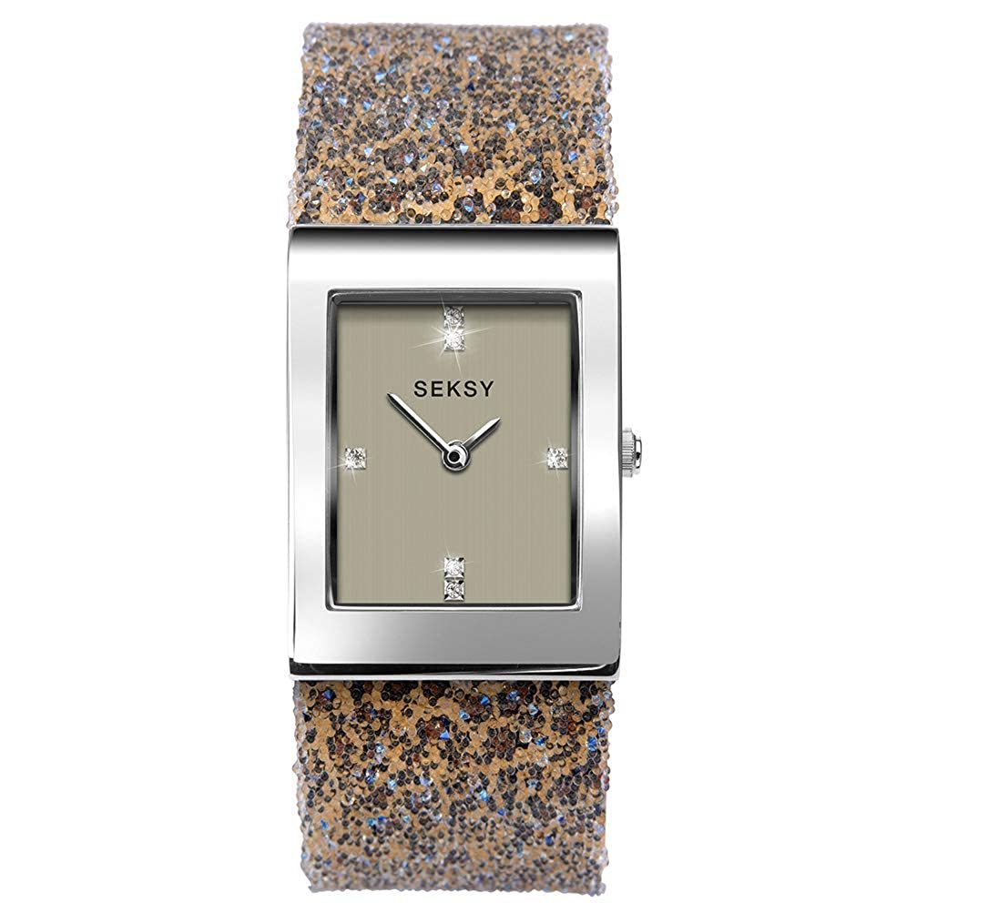 4f43888f87a2 Amazon.com: Women's Watch, Swarovski Crystal Watch, Luxury, Fashion Watch,  Water Resistant, Extra Clasps, Seksy Rocks Collection (Rose Gold/Grey  Dial): ...