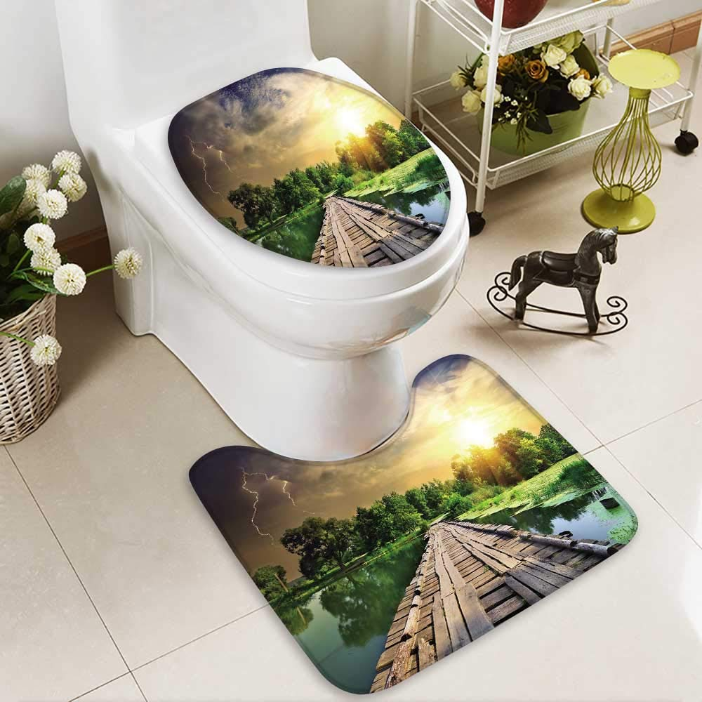 HuaWuhome 2 Piece Bathroom Contour Rugs Old Bridge Over The River in The Countryside Anti-Slip Water Absorption