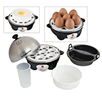 Tooltime® 360w 3-in-1 Electric Egg Boiler Poacher & Omelette Maker with Poacher & Omelette Tray - Stainless Steel Top - Boils up to 7 Eggs