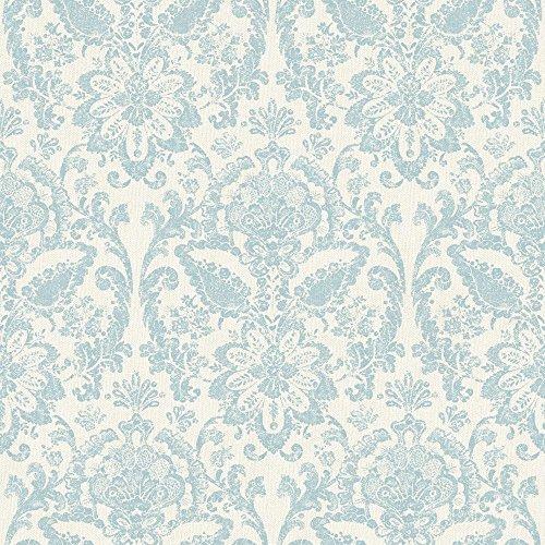 York Wallcoverings AM8749 American Classics Floral Damask Wallpaper, White/Robin Egg (Damask Traditional Prints Wallpaper)
