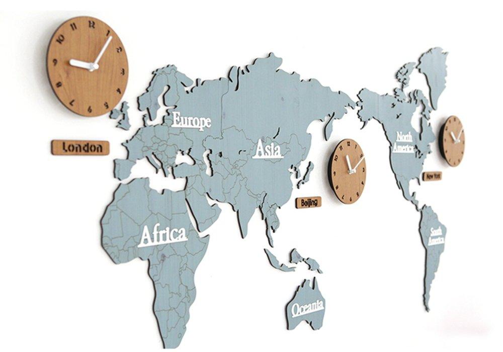 GREEM MARKET(グリームマーケット) 壁掛け時計 掛け時計 ウォール クロック 世界 時計 世界地図 おしゃれ インテリア 北欧 ウッド DIY 品番:GMS01291(ブルー/ナチュラル) B077NWWTGC ブルー/ナチュラル ブルー/ナチュラル