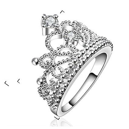 travet Circonita Princesa corona boda compromiso anillos de boda para mujeres eternidad anillo
