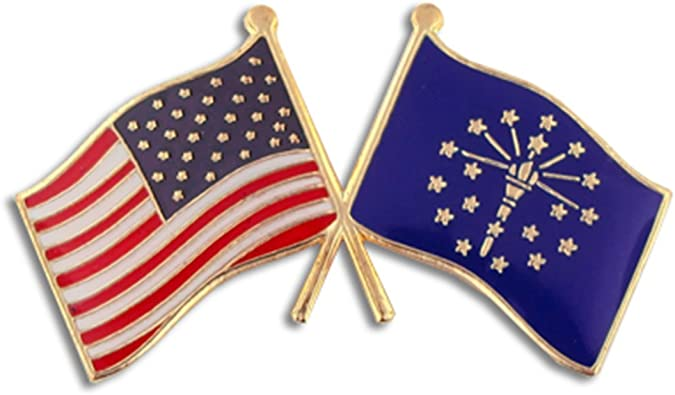 PinMart State Shape of Indiana and Indiana Flag Lapel Pin