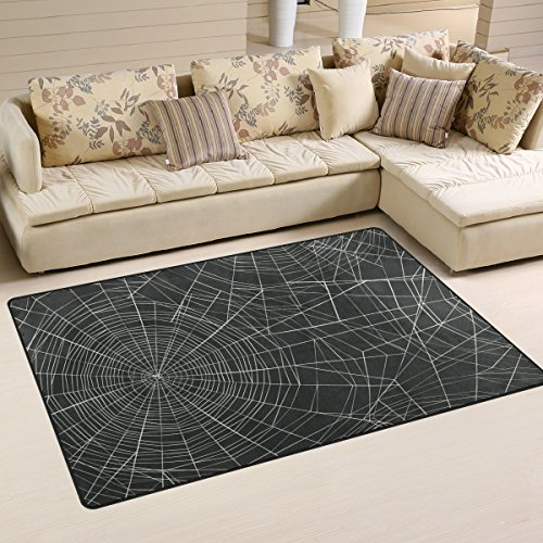 My Little Nest Happy Halloween Spider Web Funny Area Rug For Kids Bedroom Dining Living Room Entry Way 3'3