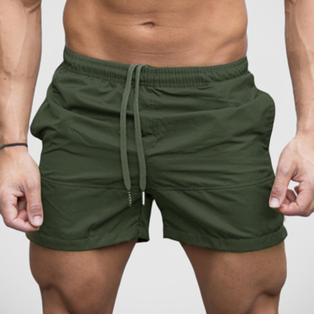 2019 Summer New ! PASATO Classic Men Gym Casual Sports Jogging Elasticated Waist Shorts Pants (Army Green, M) by PASATO (Image #3)