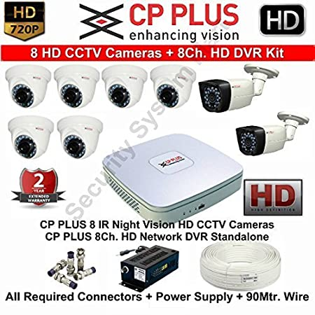 CP Plus 8 Channel HD DVR Kit with 6 - 1.3 MP Dome Cameras, 2 - 1.3 MP Bullet Camera, Power supply and all required accessories at amazon