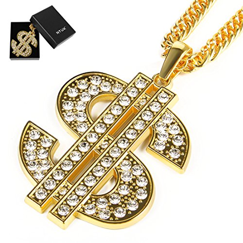 NYUK Gold Chain for Men with Dollar Sign Pendant Necklace
