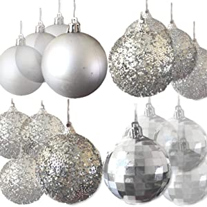 BANBERRY DESIGNS Silver Christmas Ball Ornaments Shatterproof - Silver Balls for Holiday Wedding Party Decorations - Trim-a-Tree Decorations - Xmas Ornament Set Hanging Balls 32 CT