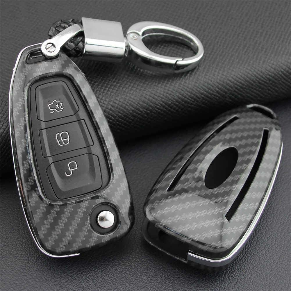Minear ABS Carbon Fiber Key Fob Cover Silicone Car Key Cover Key Case Car Keychain Accessories For Ford Focus For Escape Kuga